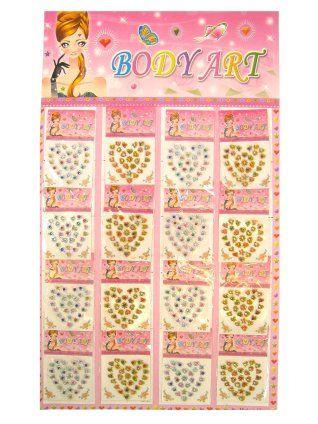 Face/body stickers hartjes/bloemetjes per stuk diverse kleuren