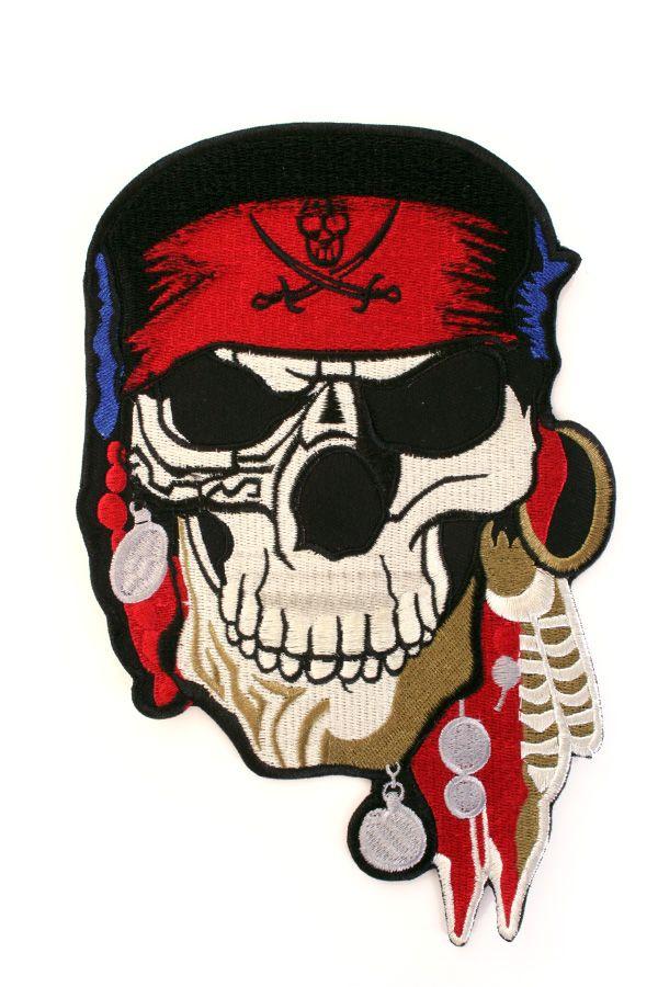 Applicatie Pirate skull 21x13,5 cm