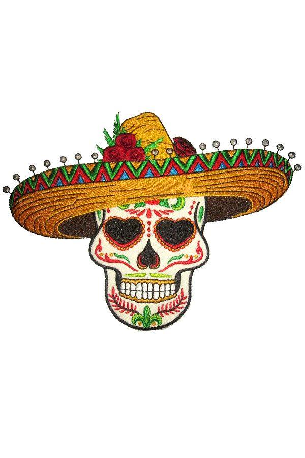 Applicatie Sugar Skull met sombrero 14x18 cm