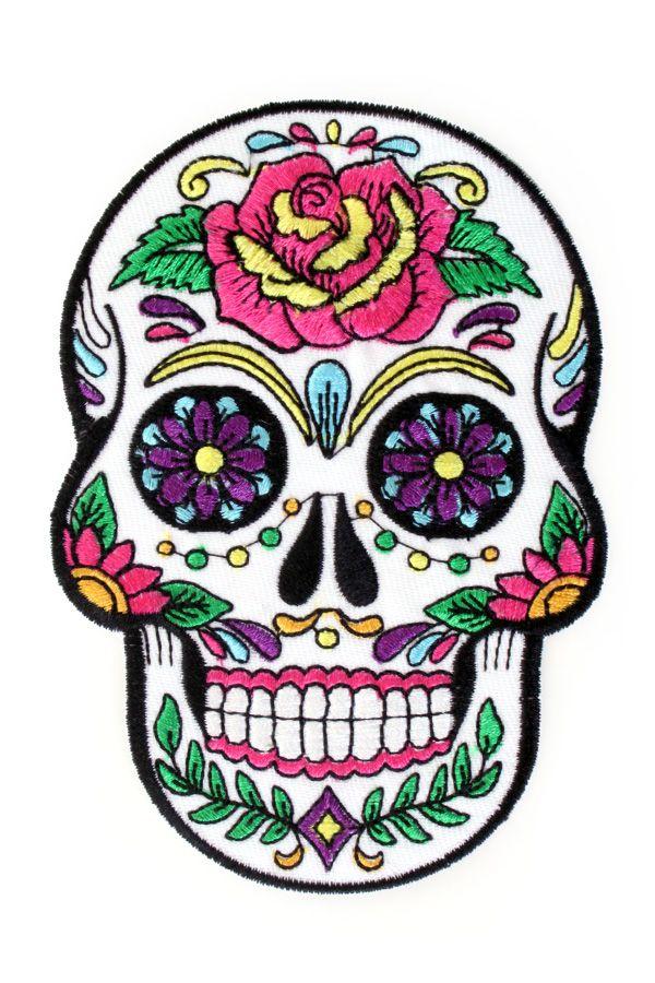 Applicatie Sugar Skull bloemen 12x8,5 cm