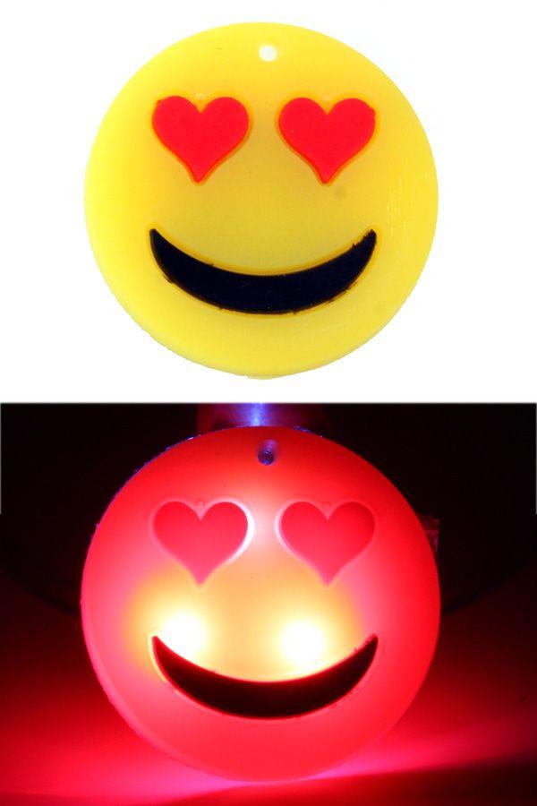 Smiley hartjes pin met licht per stuk
