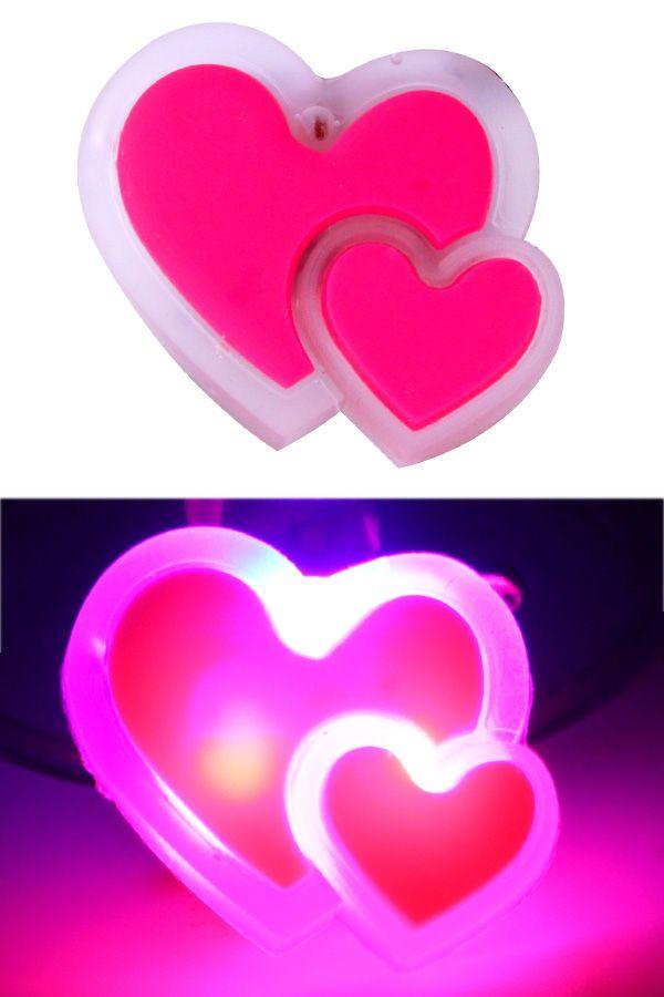 Hartjes duo pin met licht per stuk