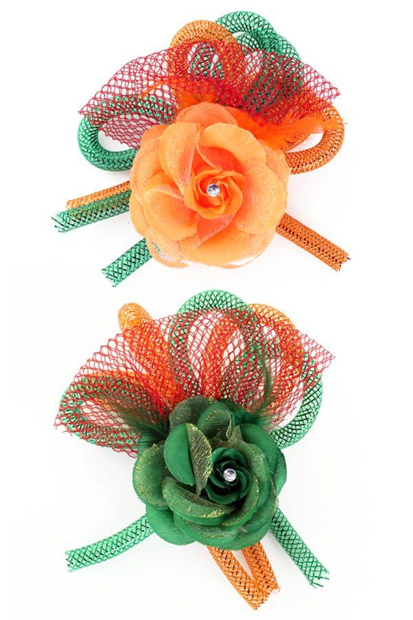 Broche bloem, tube en veertjes per stuk