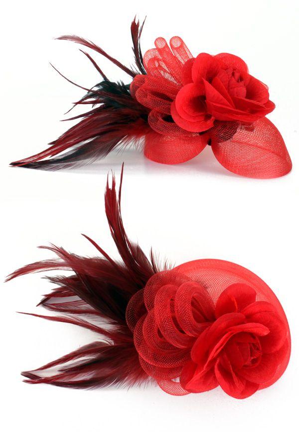 Broche tule, tube, veertjes en bloem rood per stuk