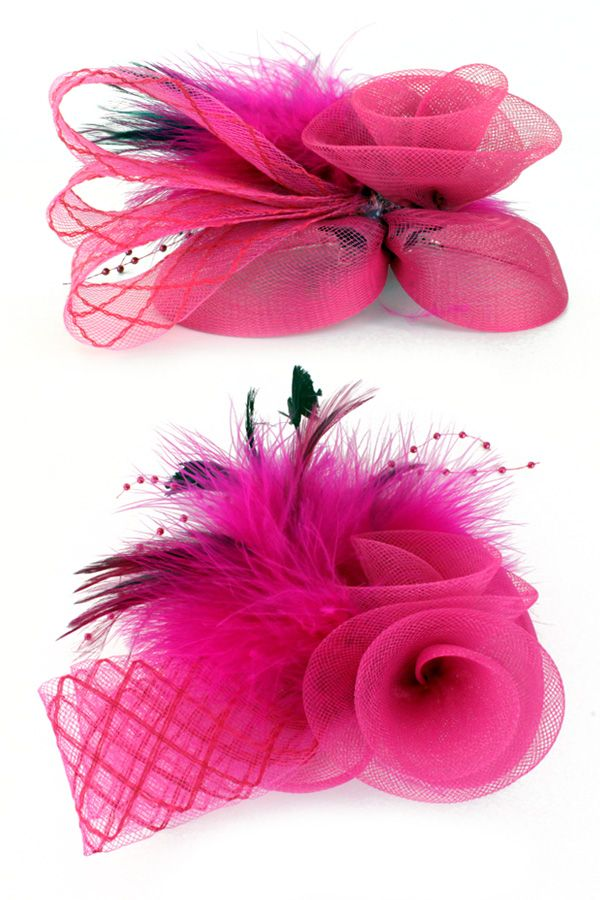 Broche tule, tube, veertjes en bloem roze per stuk