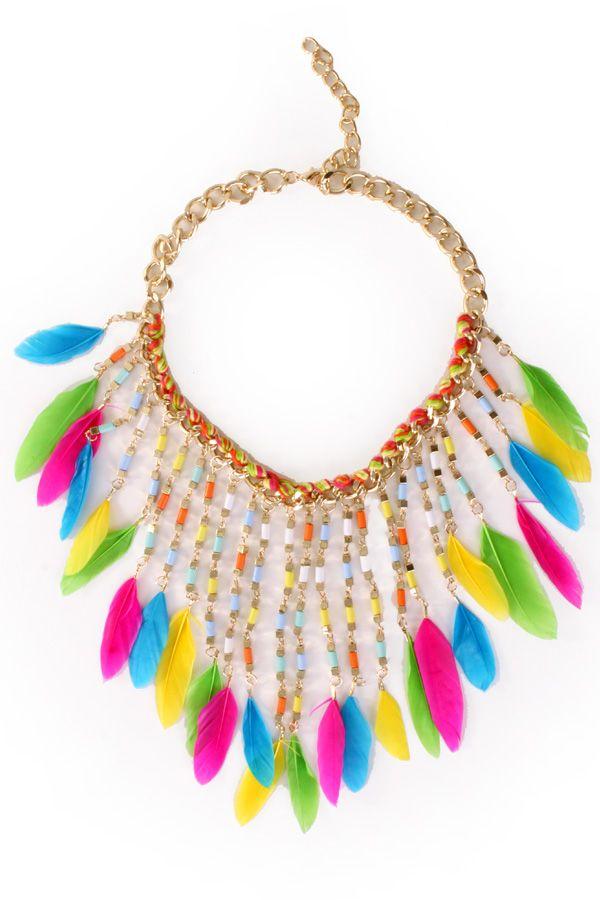 Halsketting met veertjes multi colour Ibiza