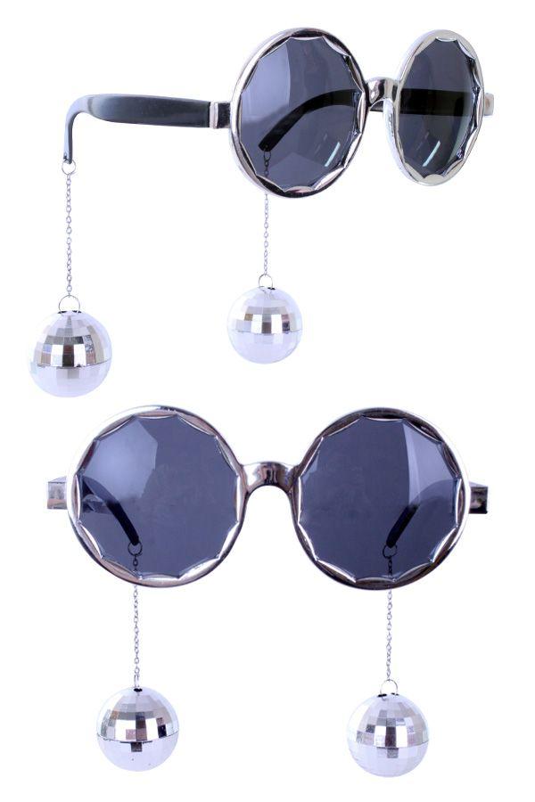 Bril zilver met discobollen