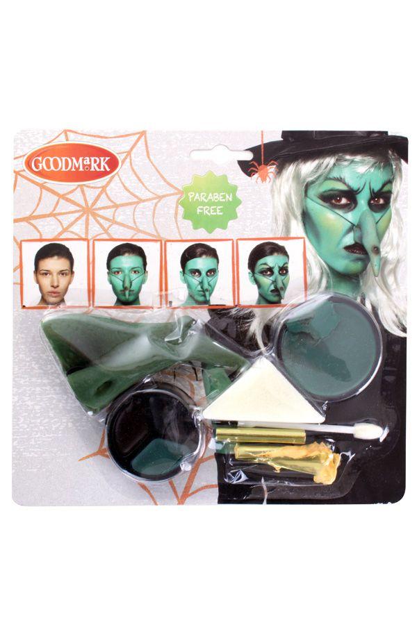 Schminkset met neus heks Halloween