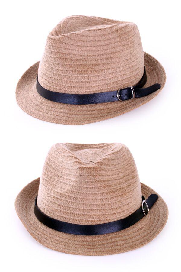 Kojak hoedje naturel met zwarte band
