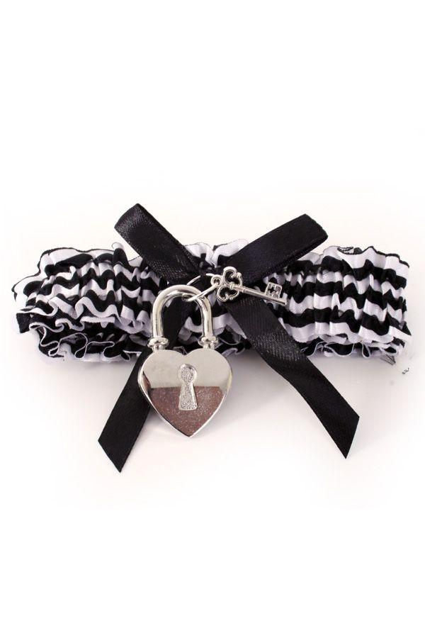 Kousenband boef zwart/wit met slot