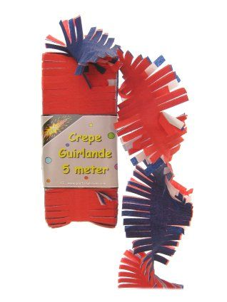 Crepe guirlande rood/wit/blauw 5m