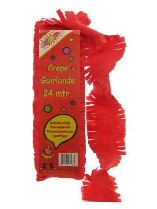 Crepe guirlande brandveilig rood 24m