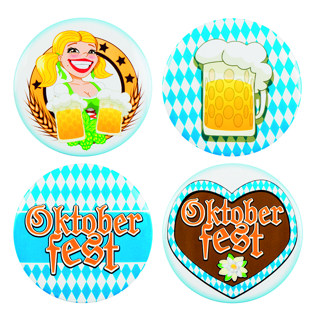 Set van 4 Buttons Oktoberfest (5,5 cm)
