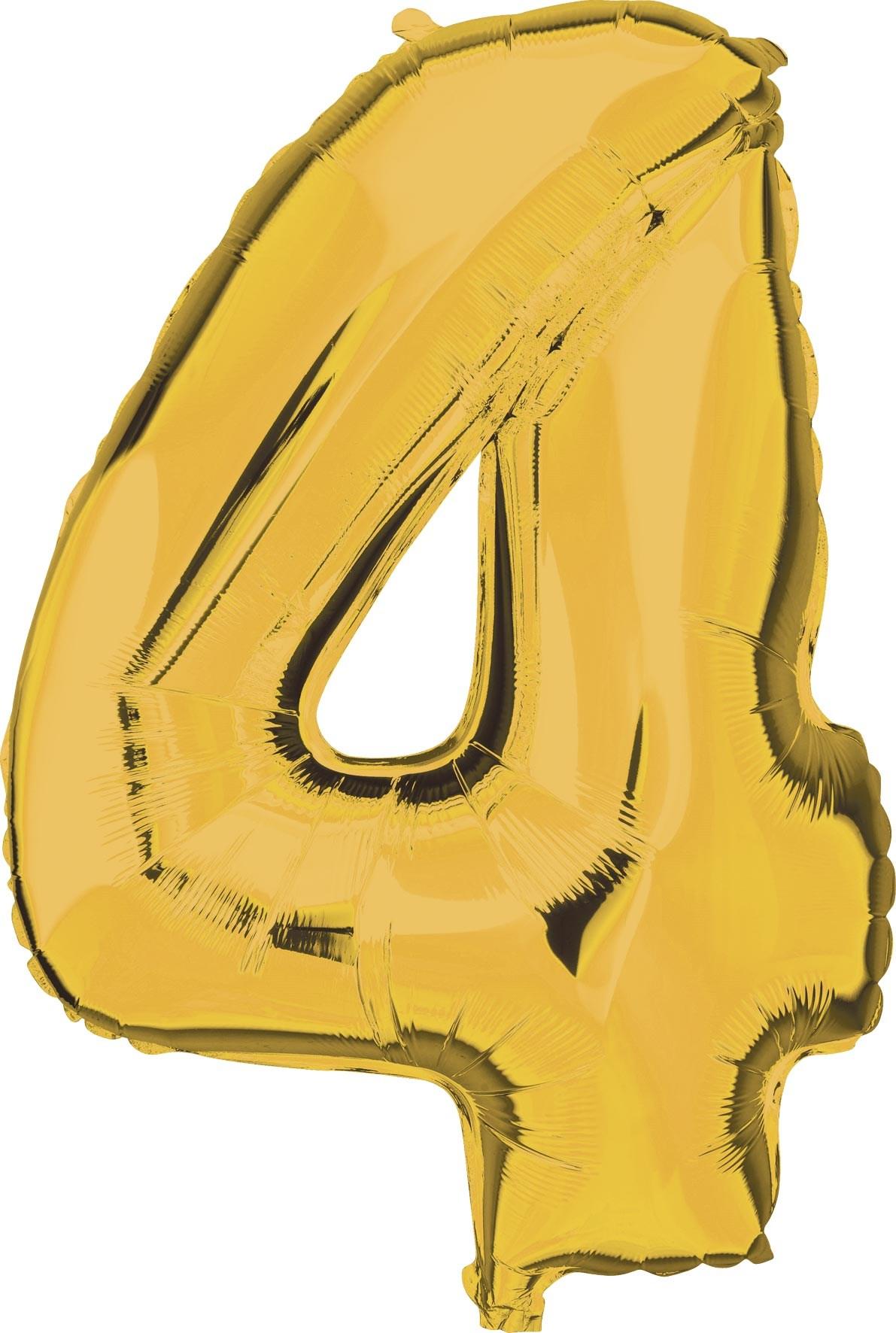 Folie ballon cijfer 4 goud