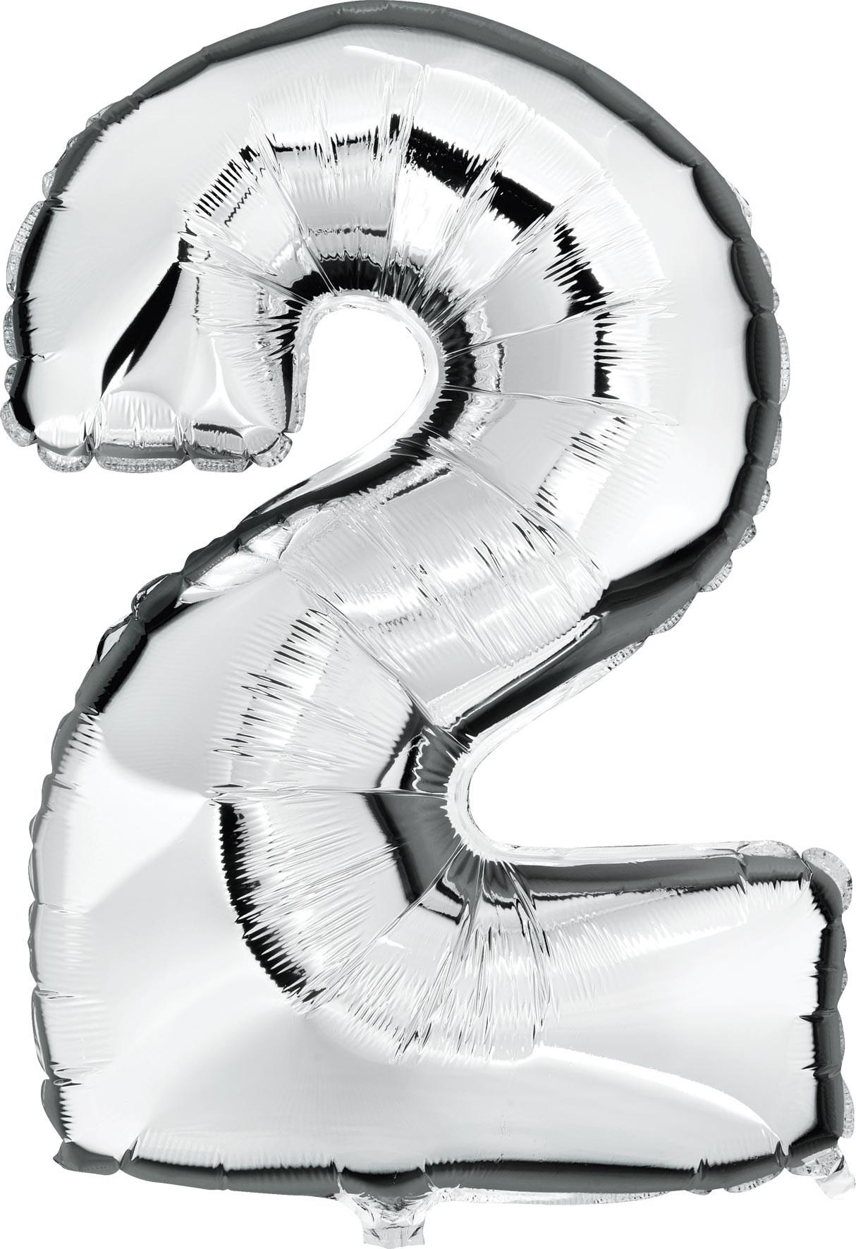 Folie ballon cijfer 2 zilver