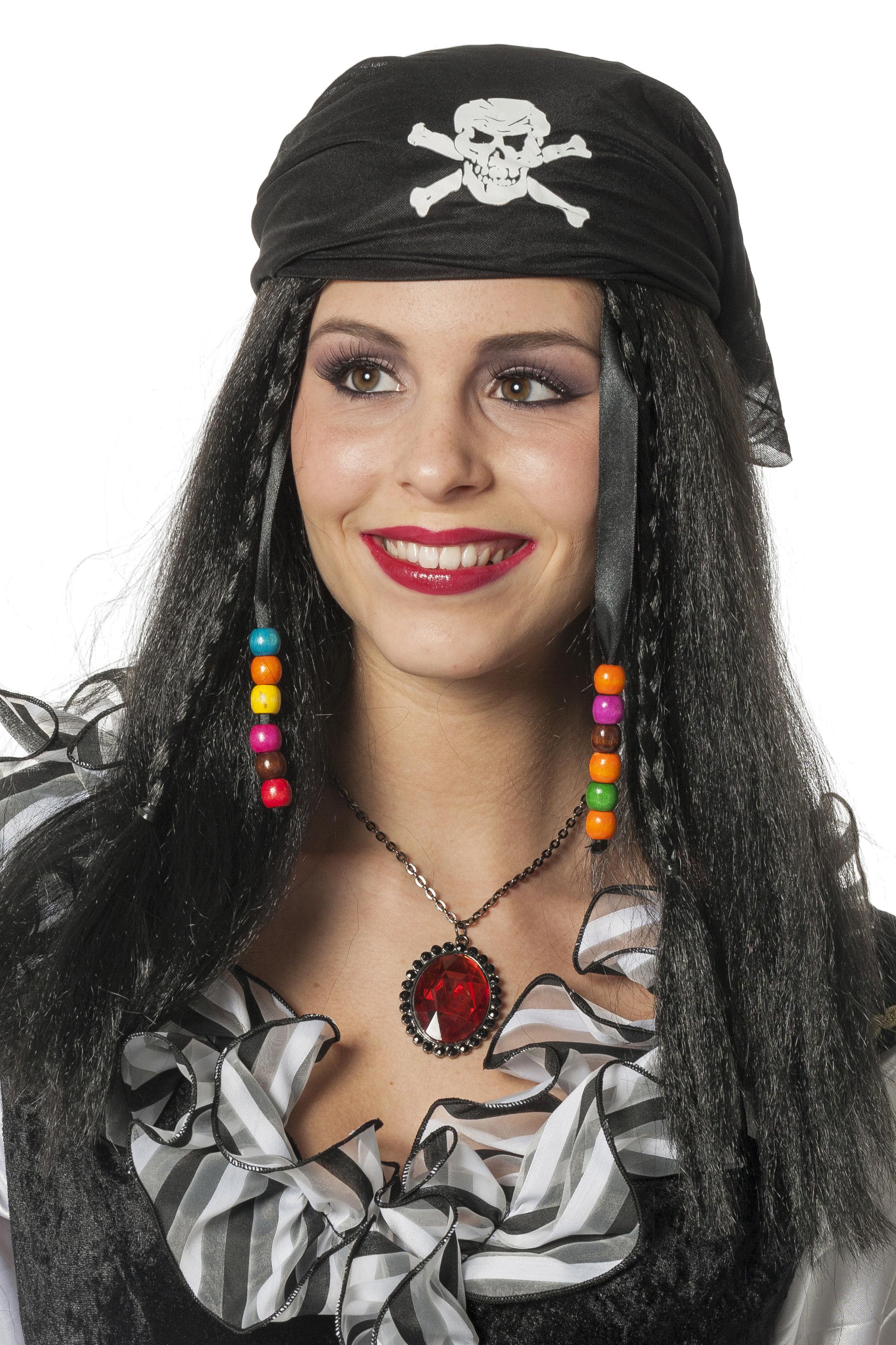 Piratenpruik met zwart haar en zwart kapje