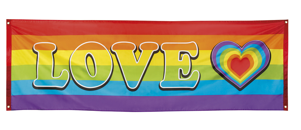 Polyester banner Regenboog love (74 x 220cm)