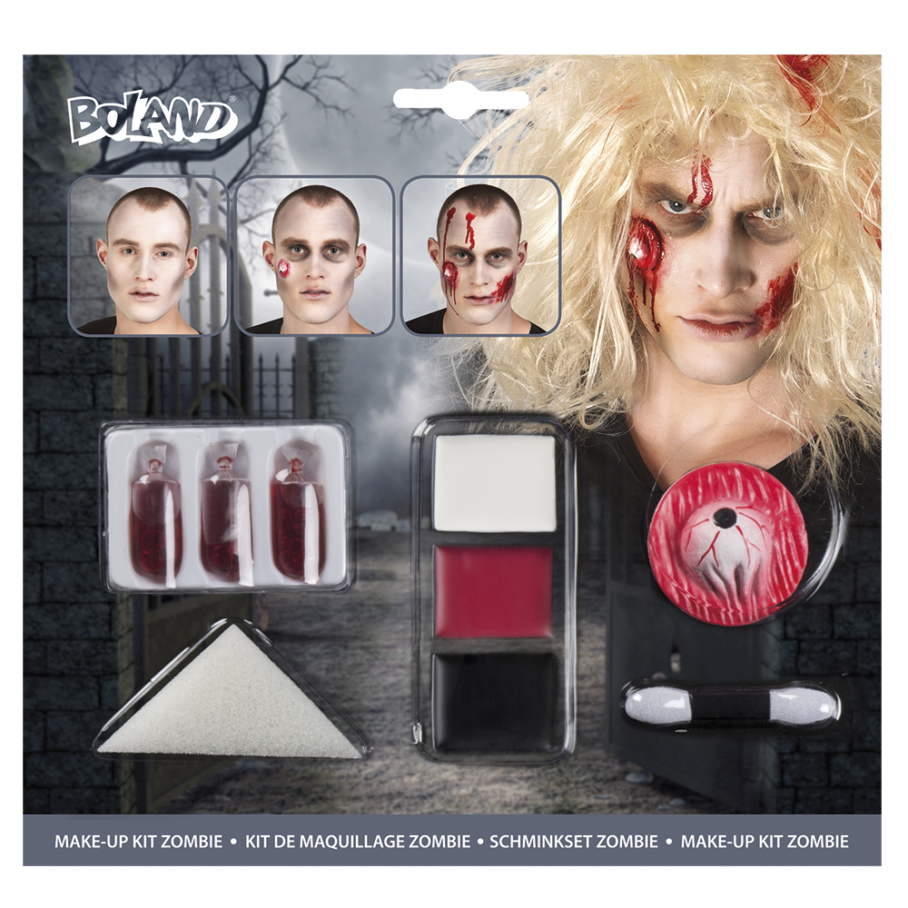Zombie make-up kit (make-up, 1 spons, 1 penseel, 1 latex wond en 3 nepbloedcapsules)