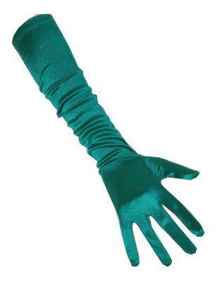Handschoen satijn turqoise 48cm