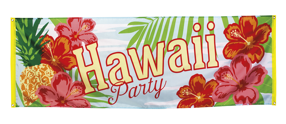 Polyester banner Hawaii party (74 x 220cm)