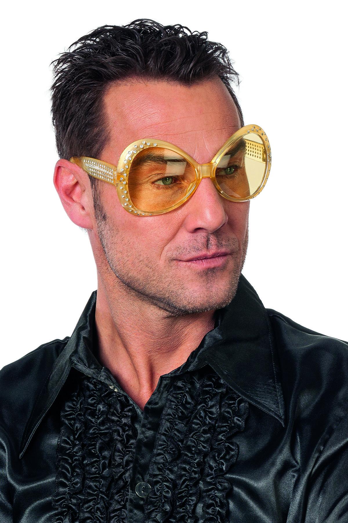 Bril met steentjes goudgeel met gele glazen