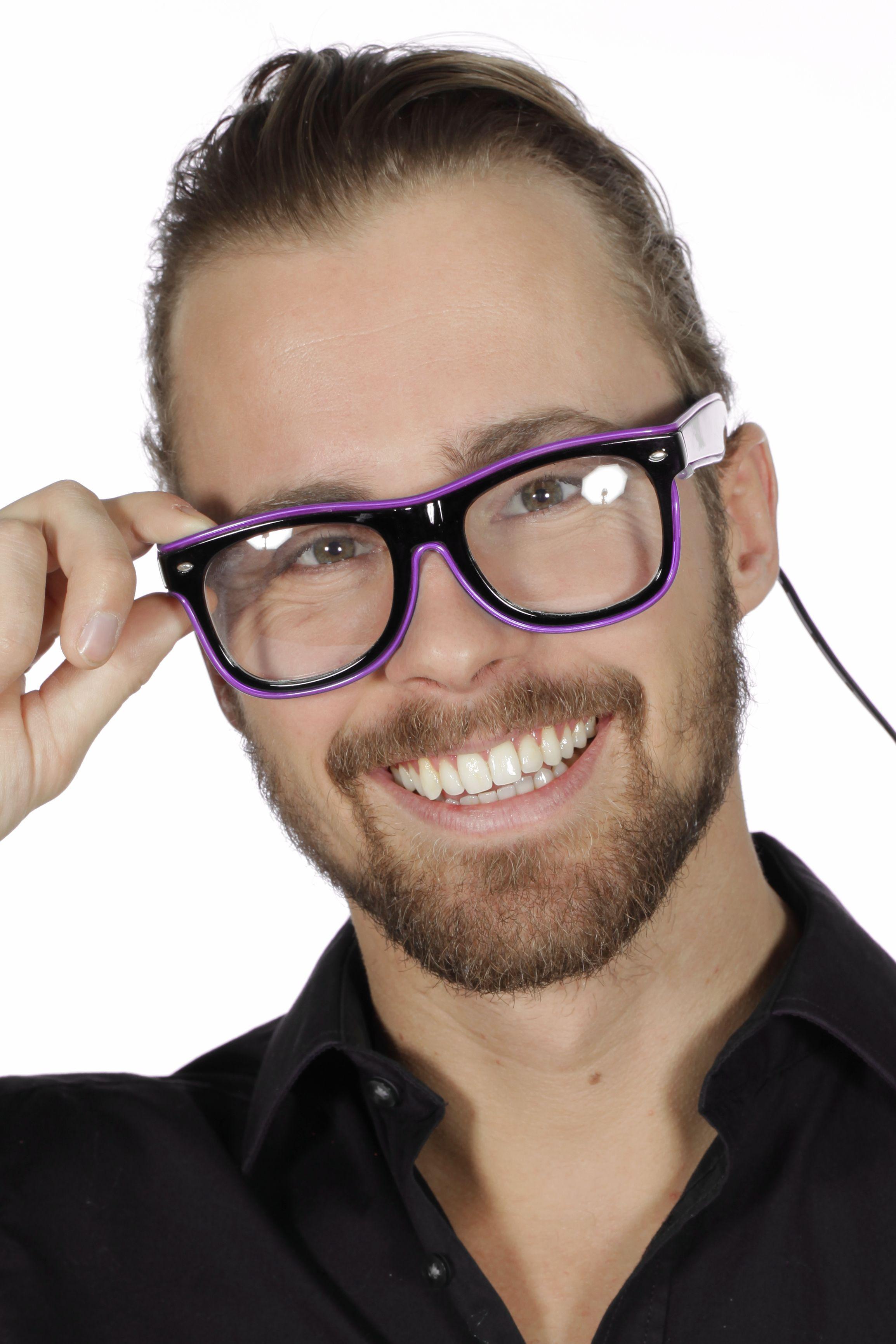 Bril met paars licht