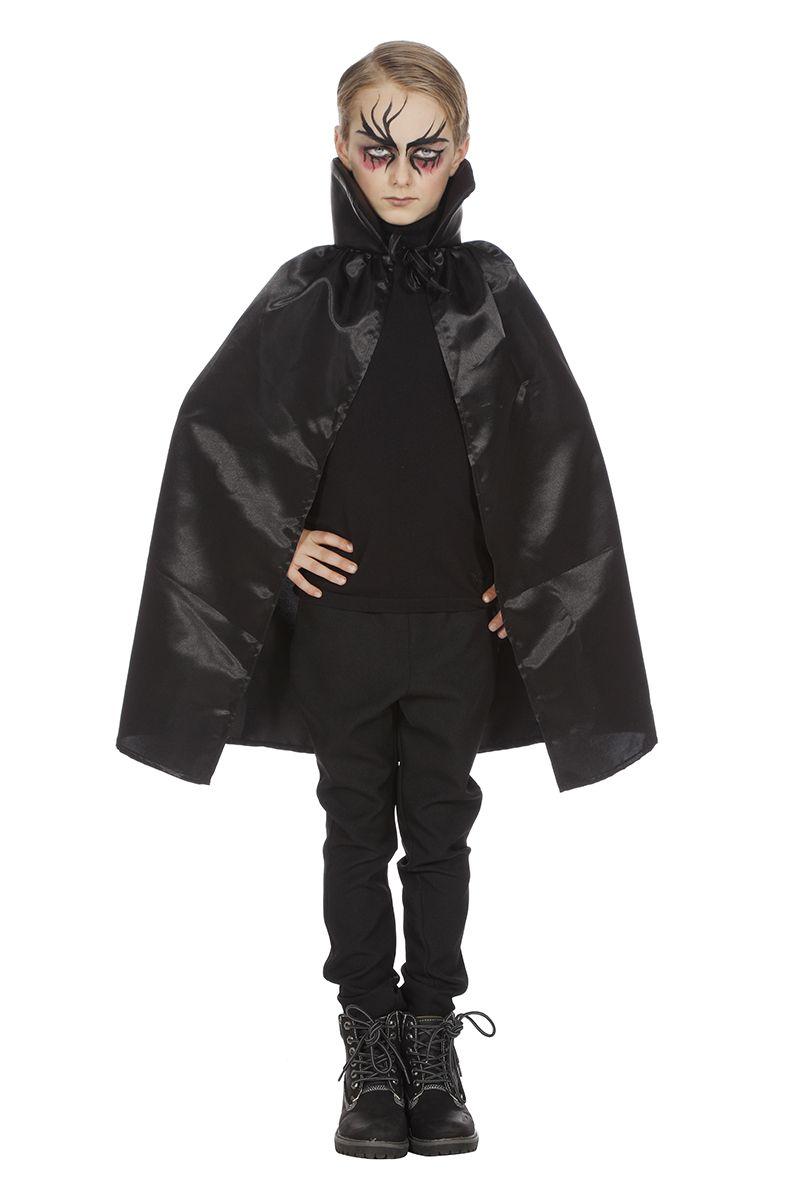 Dracula cape dubbel met kraag zwart voor kind one size