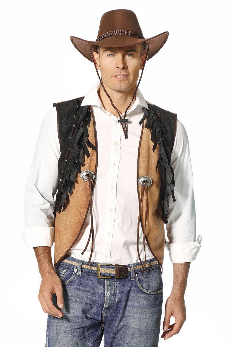 Cowboyvest zwart/bruin voor heer