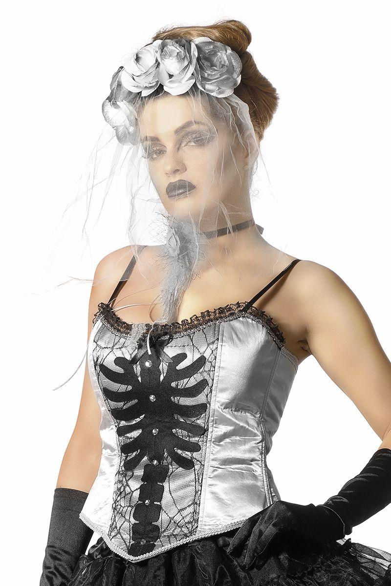Corset zilver met skelet print voor dame maat 36
