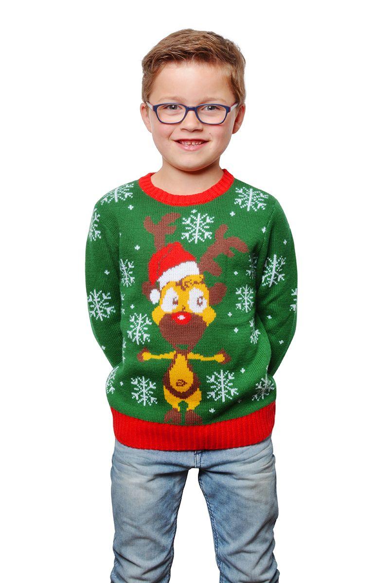 Foute kersttrui groen met rendierhoofd voor kind