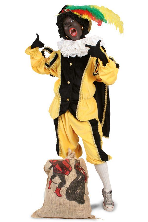 Piet pluche zwart/geel voor kids