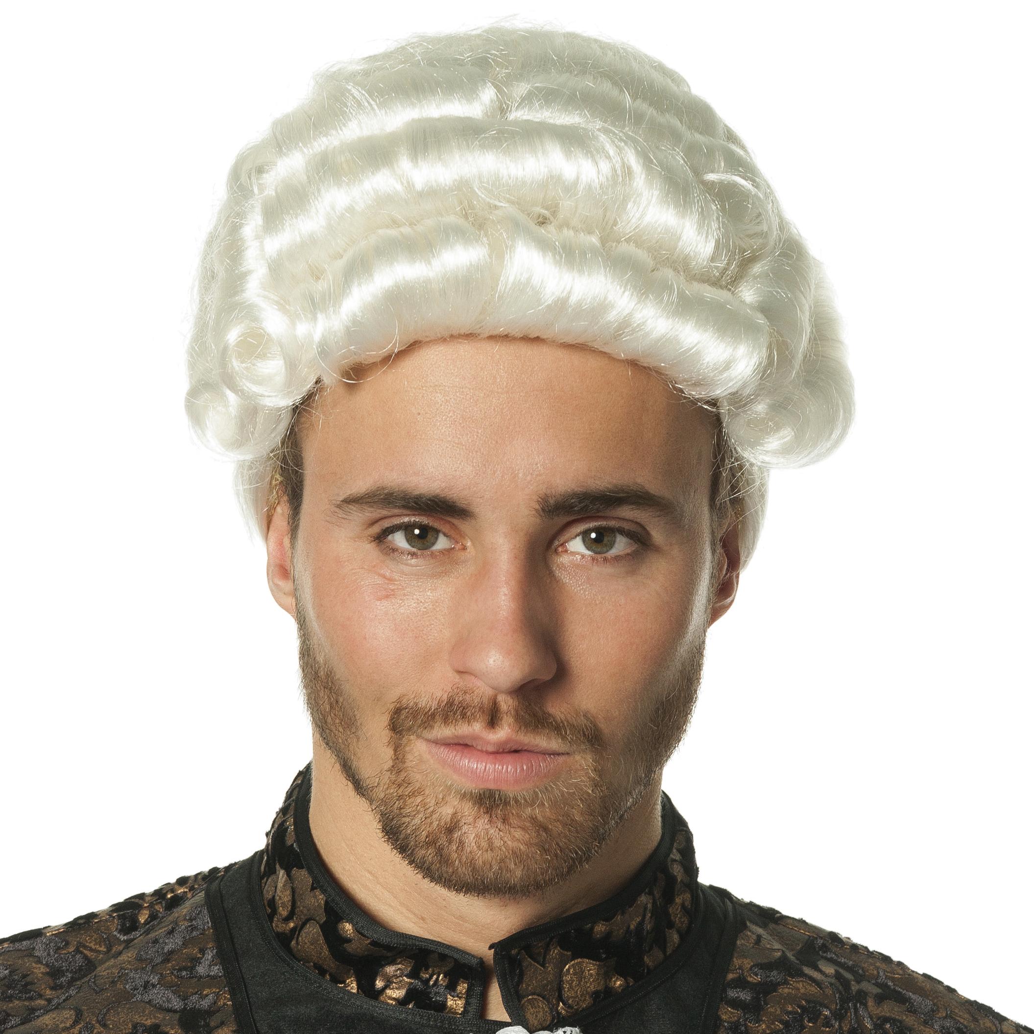 Mozart pruik wit met staart
