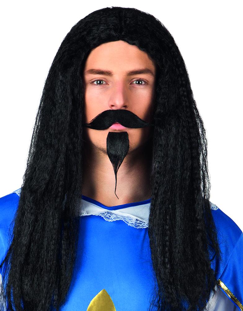 Pruik Musketier Gerard zwart met snor en baard