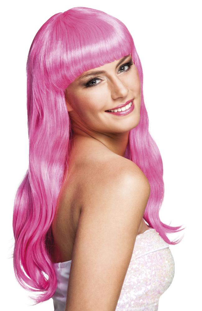 Pruik Chique lang icy pink