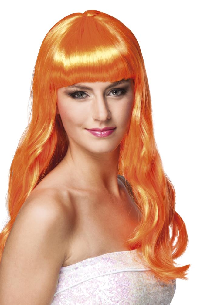 Pruik Chique lang oranje