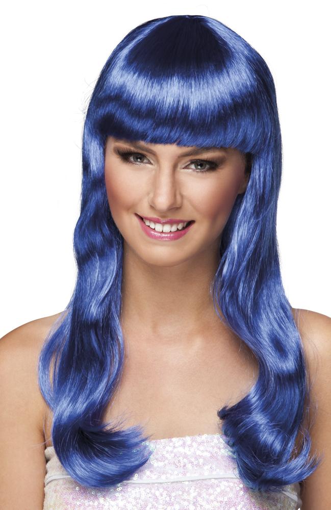 Pruik Chique lang blauw
