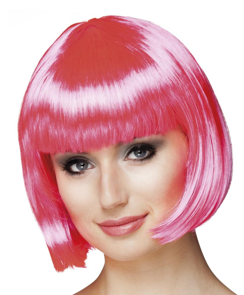 Pruik Cabaret bobline hard roze