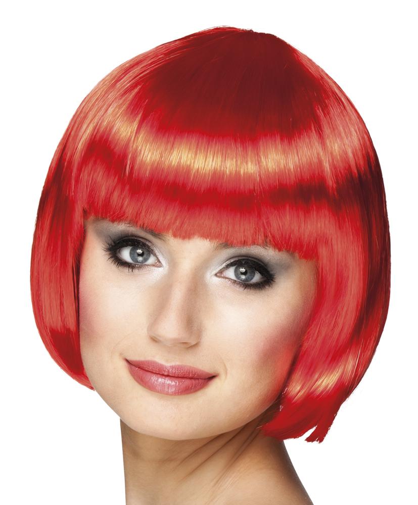 Pruik Cabaret bobline rood