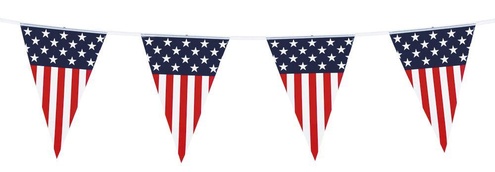 Vlaggenlijn USA (6 m, 30 x 20cm) plastic