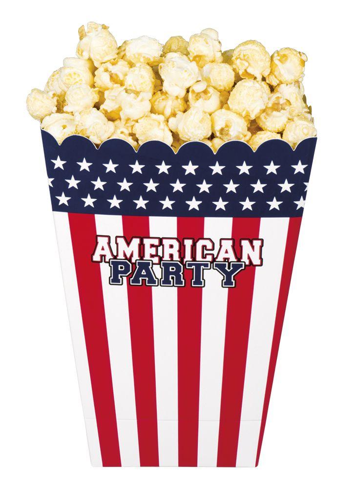 Popcornbakjes USA set van 4 stuks