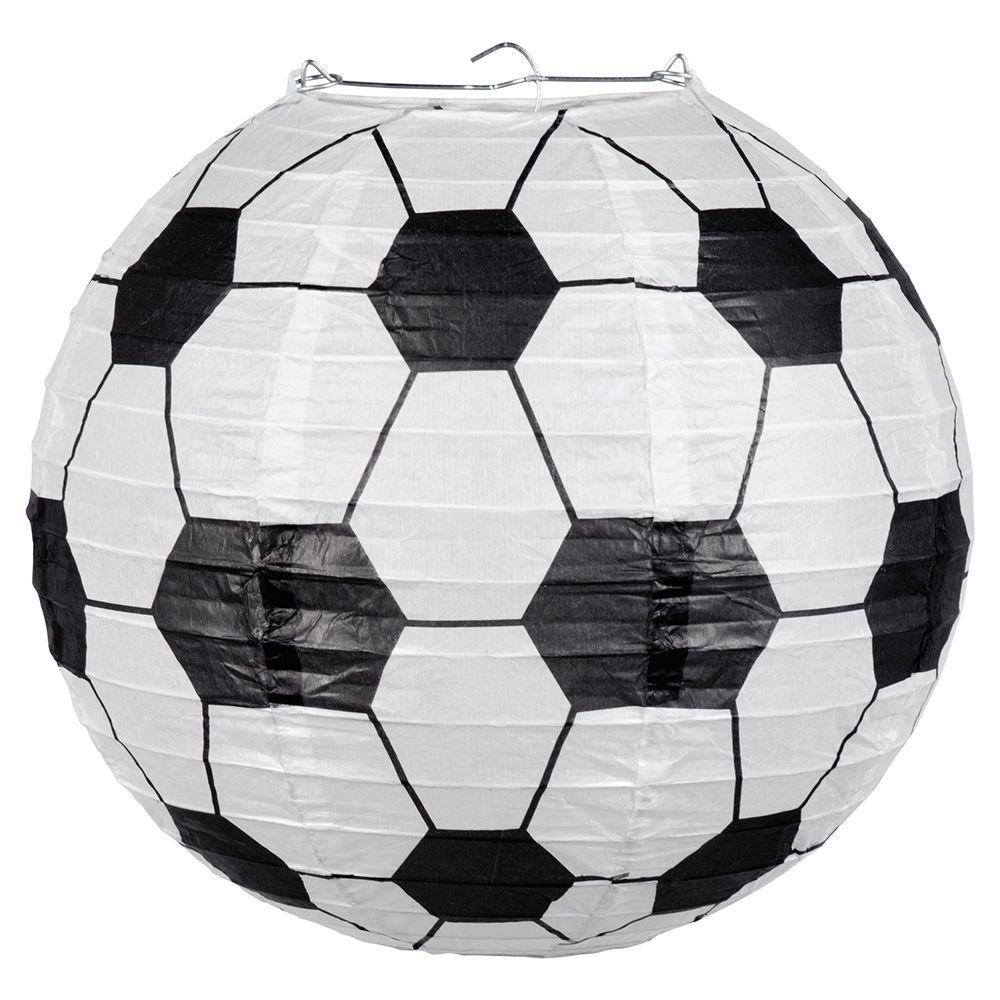 Papieren lampion Football met draadstalen frame (25cm)