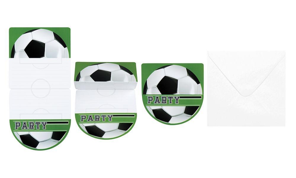 Uitnodigingskaarten Football met enveloppen set van 6 stuks