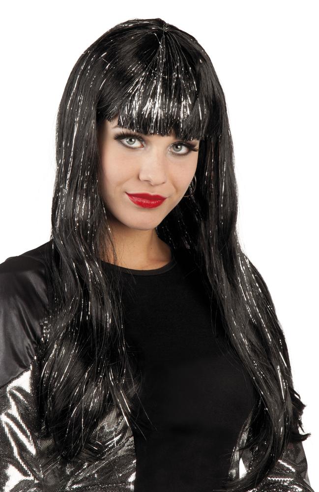 Pruik Glamour zwart (zilver tinsel)