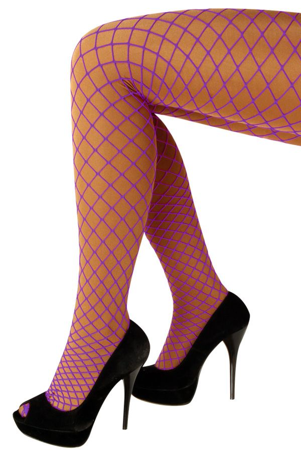 Netpanty paars grote mazen one size