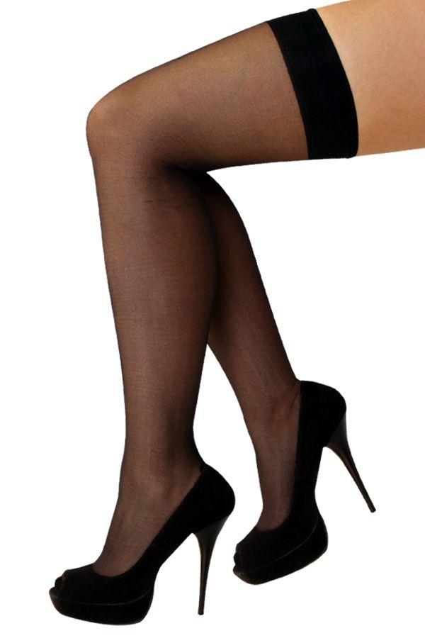 Stay-up kousen zwart met streep one size