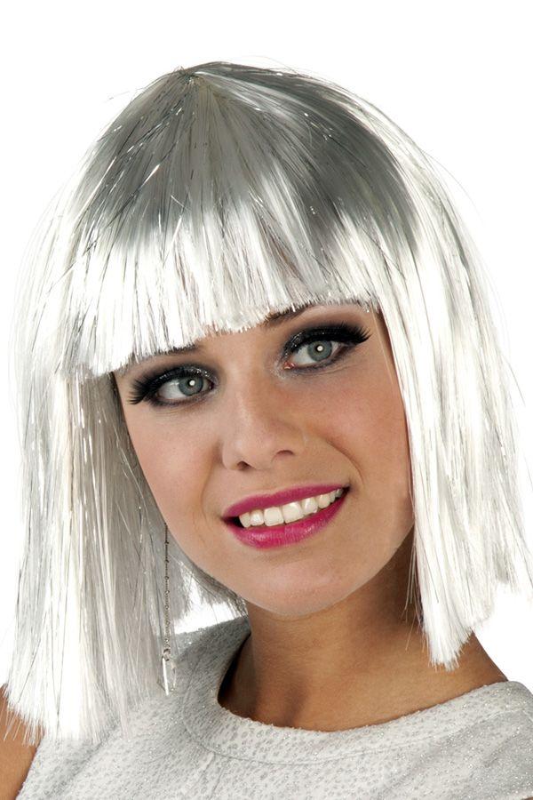 Pruik Glamour wit met zilver tinsel