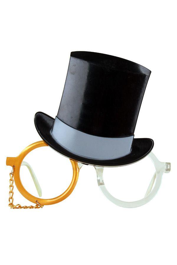 Bril hoge hoed met monocle goud