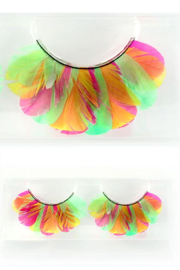 Wimpers veertjes fluor pink/geel/groen