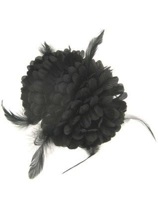 Haarklem zwarte bloem met veertjes