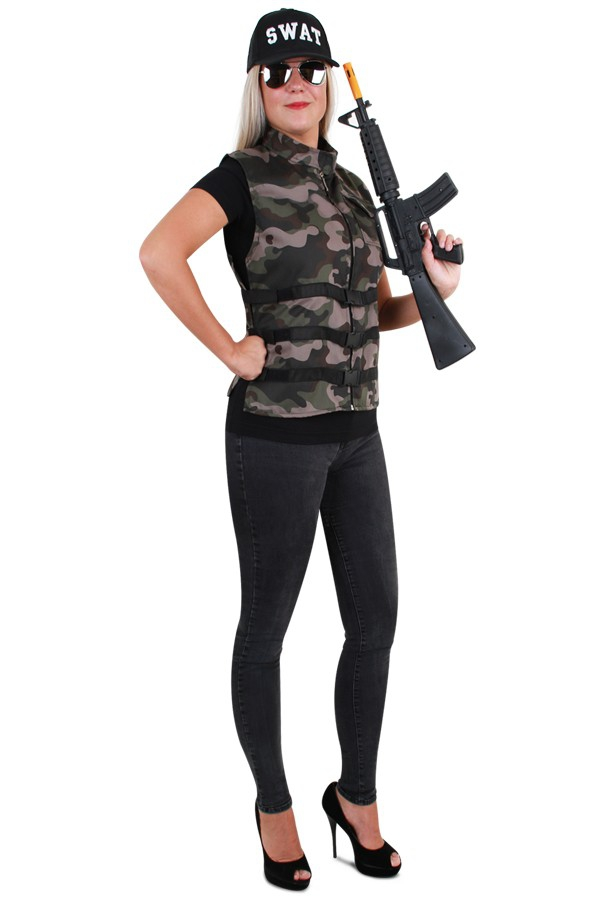 Camouflage vest voor dames one size